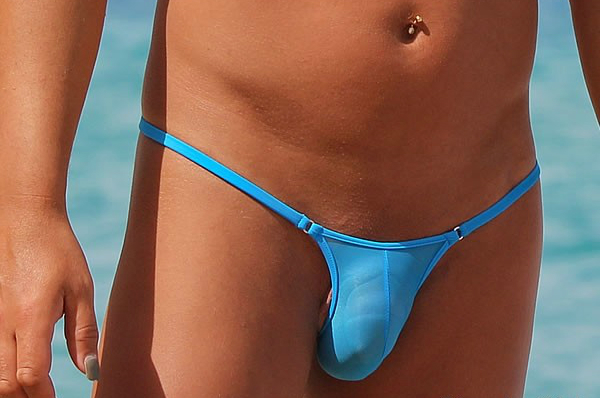 Men Triangle String Blau transparent